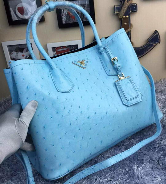 Prada Ostrich Leather Tote Bag BN2756 SkyBlue