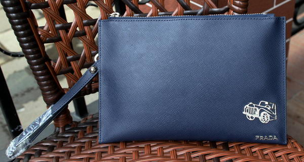 Prada Saffiano Leather Clutch PA1488 Blue