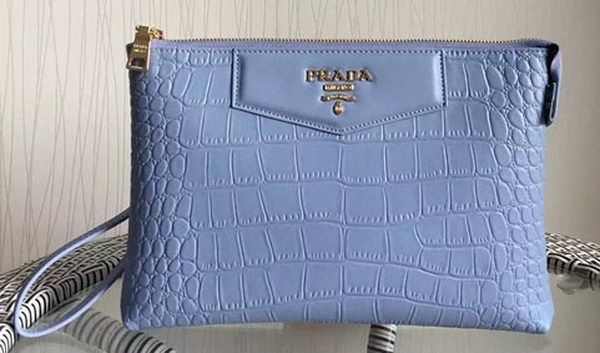 Prada Croco Leather Clutch PD991 SkyBlue