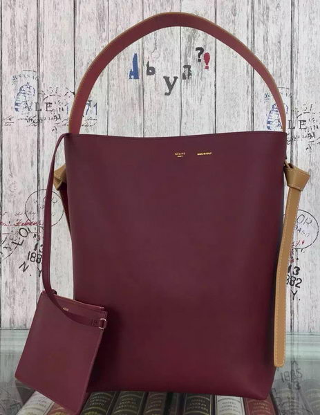 CELINE Twisted Cabas Bag C16211 Burgundy&Black