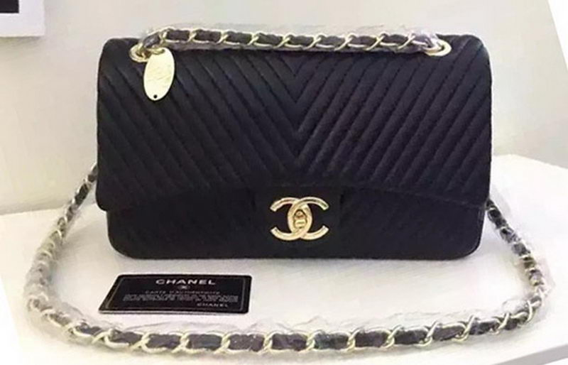 Chanel 2.55 Series Flap Bag Chevron Leather V3459 Black