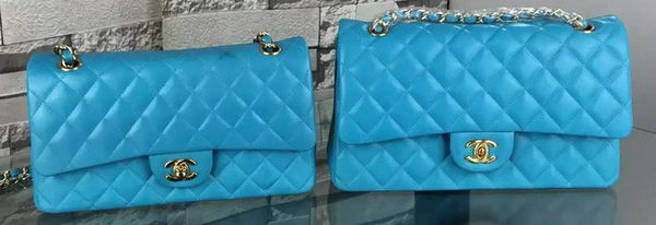 Chanel 2.55 Series Flap Bag Lambskin Leather A5024 Blue