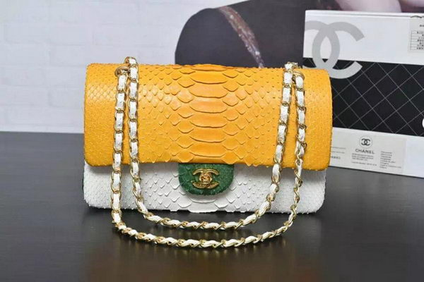 Chanel 2.55 Series Flap Bags Yellow&White&Green Original Python Leather A1112SA Gold