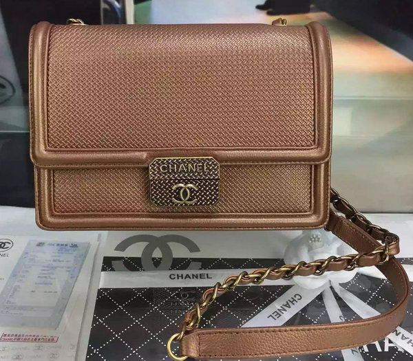 Chanel Calfskin Leather Shoulder Bag A31075 Brown