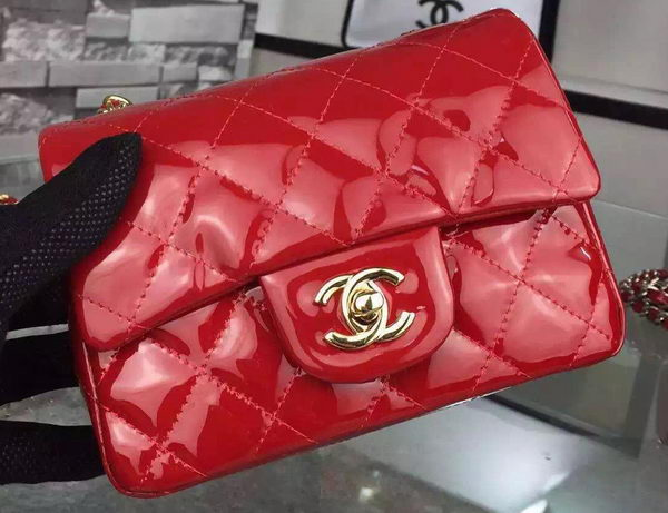 Chanel Classic mini Flap Bag Red Original Patent Leather CF7171 Gold