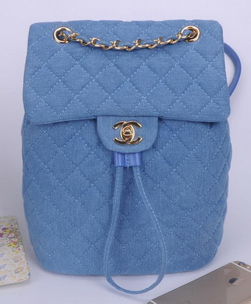 Chanel Denim Fabric Backpack A91121 Light Blue