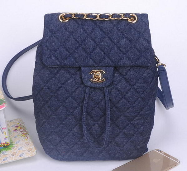 Chanel Denim Fabric Backpack A91121 RoyalBlue