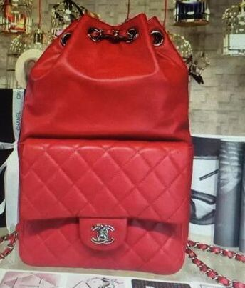 Chanel Sheepskin Leather Backpack 15ss Red
