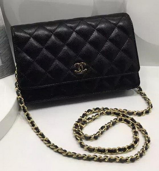 Chanel WOC mini Flap Bag Cannage Pattern A33814C Black