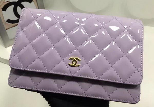 Chanel WOC mini Flap Bag Patent Leather A33814P Lavender