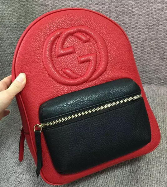 GUCCI Soho Leather Chain Backpack 431570 Red