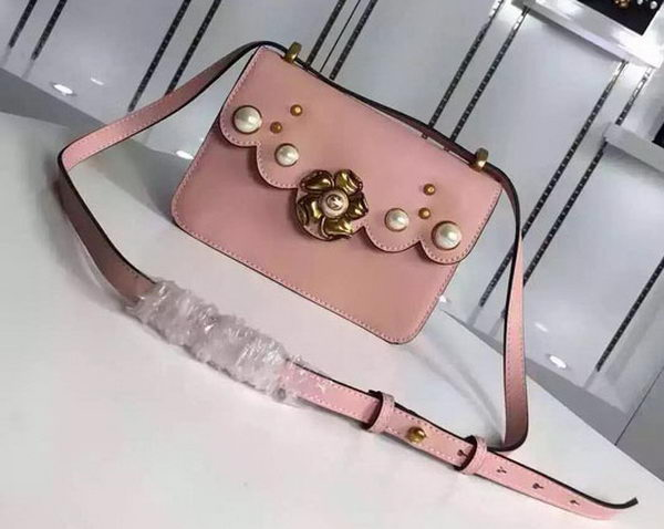 Gucci Calfskin Leather Chain Shoulder Bag 432281 Pink