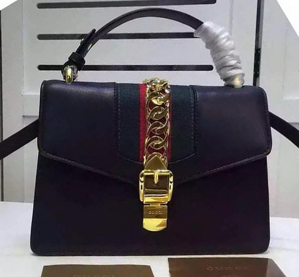 Gucci Sylvie Leather Top Handle Bag 431665 Black