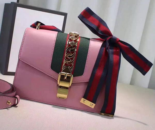 Gucci Sylvie Leather mini Chain Bag 431666 Pink