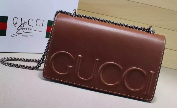 Gucci XL Calfskin Leather mini Bag 421850 Brown