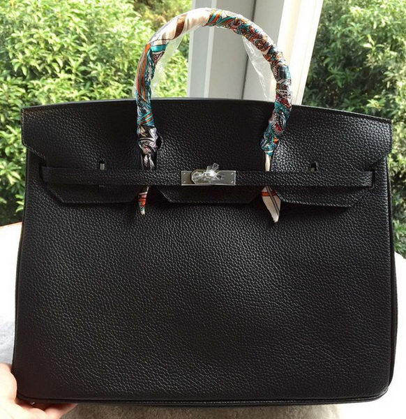 Hermes Birkin 40CM Bag Black Litchi Leather BK40 Silver