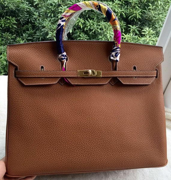 Hermes Birkin 40CM Bag Wheat Litchi Leather BK40 Gold