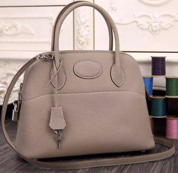 Hermes Bolide 37CM Calfskin Leather Tote Bag B1004 Light Grey