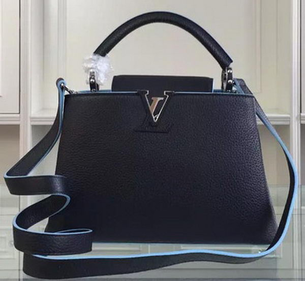 Louis Vuitton Taurillon Leather CAPUCINES BB Bag M90939 Black&Blue