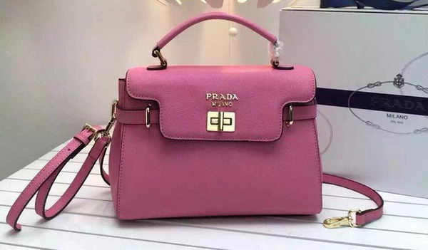 Prada Grainy Leather Top Handle Bags BN0911 Pink