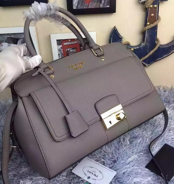 Prada Grainy Leather Tote Bag B2846 Grey