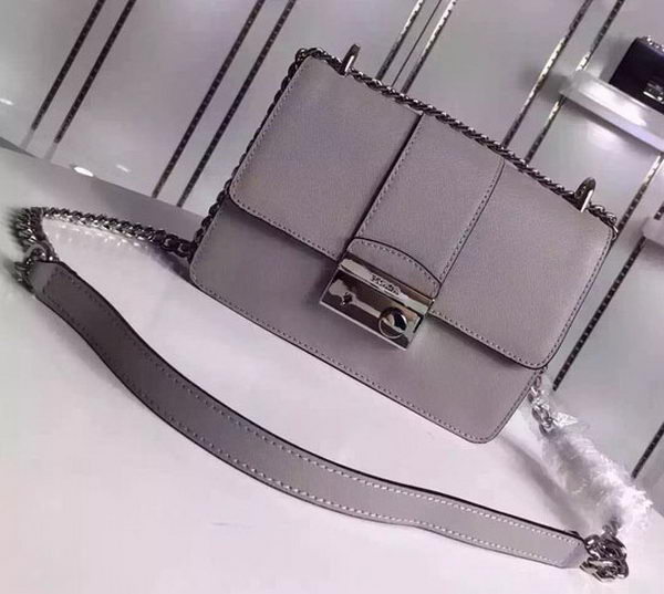 Prada Flap Shoulder Bag Calfskin Leather 1BD080 Grey