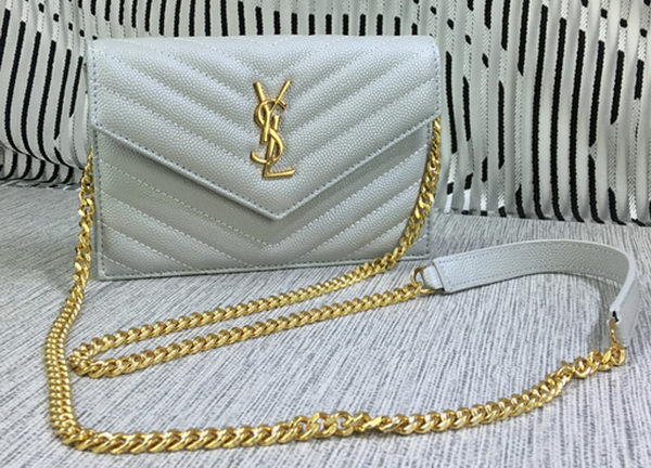 YSL Classic Monogramme Flap Bag Cannage Pattern Y377828S OffWhite