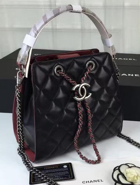 Chanel Hobo Bag Sheepskin Leather A0586 Black&Red