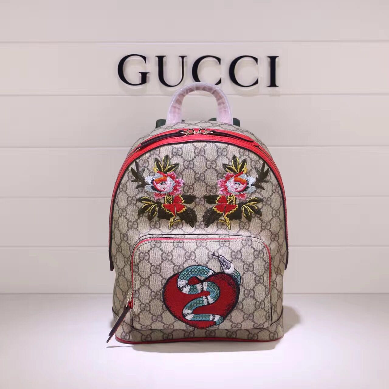 Gucci GG Canvas Backpack 427042 Red