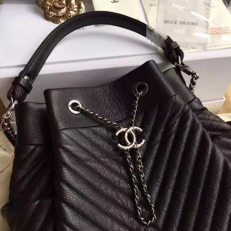 Chanel Deerskin Leather Bucket bag 17217 Black