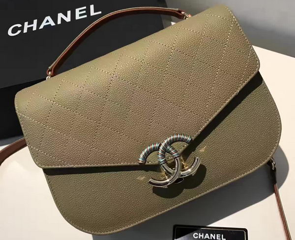 Chanel Flap Shoulder Bag Original Calfskin Leather A93578 Green