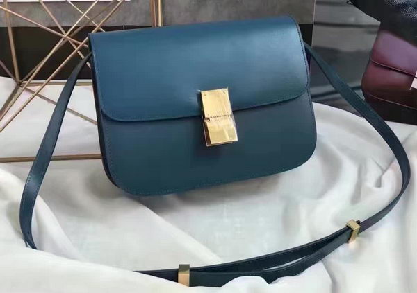 Celine Classic Box Flap Bag Smooth Leather C20447 Blue