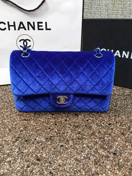 Chanel 2.55 Series Flap Bags Original Blue Velvet Leather A1112 Silver