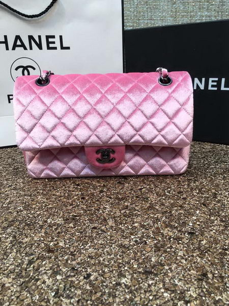 Chanel 2.55 Series Flap Bags Original Pink Velvet Leather A1112 Silver