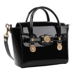 Versace Patent Leather Tote Bag 1745 Black