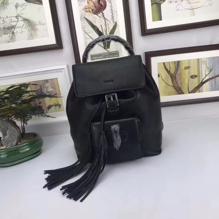 GUCCI Calfskin Leather Backpack 387149 Black