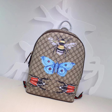 Gucci Butterfly print GG Supreme Backpack 419584 Brown