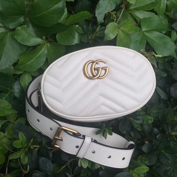Gucci GG Marmont Leather Belt Bag 476434 White