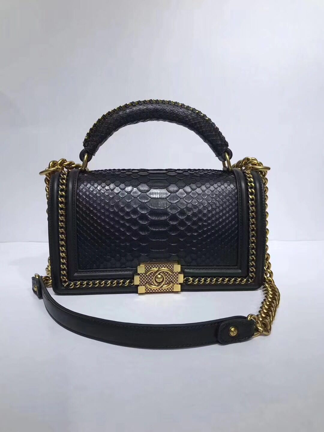Boy Chanel Flap Shoulder Bag original Snake leather 67086 black