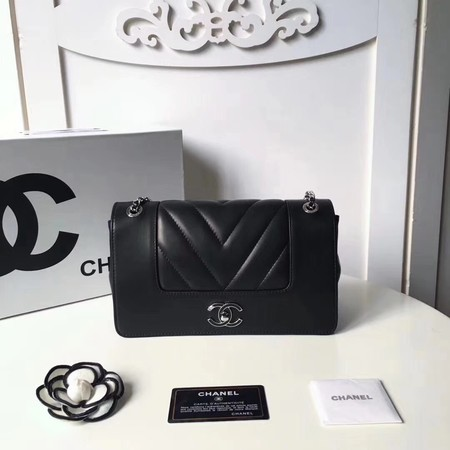 Chanel V Veins Calfskin Leather Flap Shoulder Bag 5692 Black