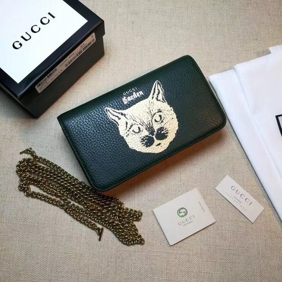 Gucci original Calf leather Mini cross-body clutch 521552 Cat green