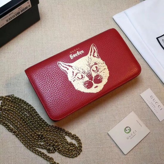 Gucci original Calf leather Mini cross-body clutch 521552 Cat red