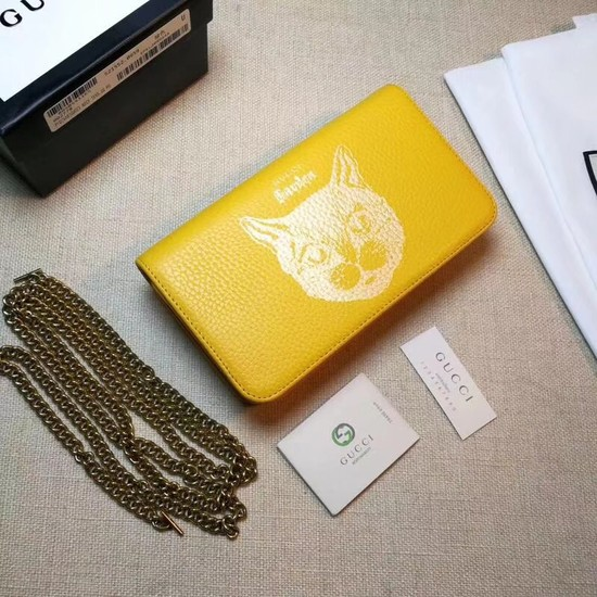 Gucci original Calf leather Mini cross-body clutch 521552 Cat yellow