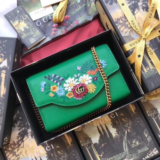 Gucci GG Marmont matelasse mini bag 499314 green