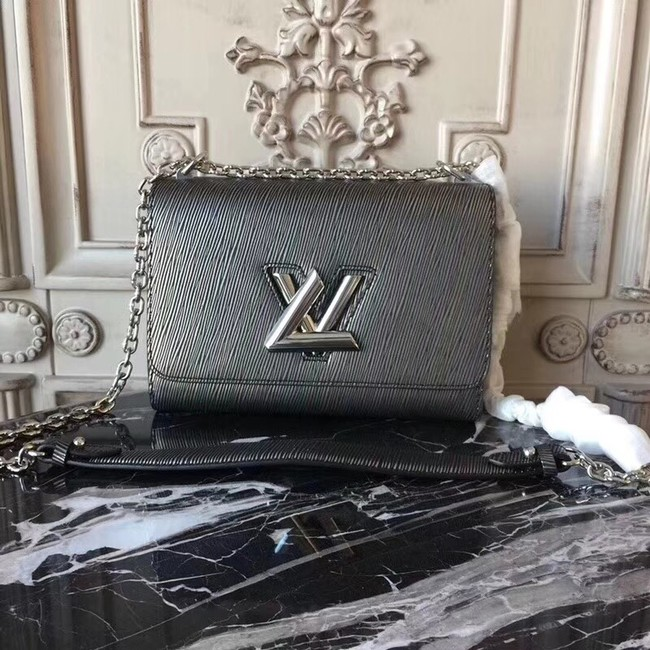 Louis vuitton original epi leather TWIST MM M50332 Silver grey