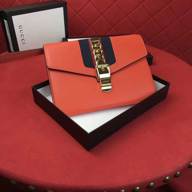 Gucci Calfskin Leather Clutch 477627 Orange
