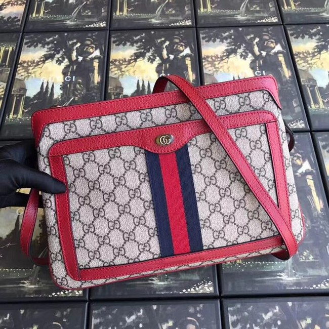 Gucci GG Supreme medium shoulder bag 523354 red