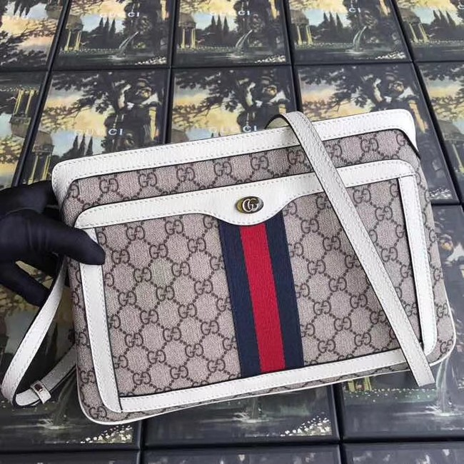 Gucci GG Supreme medium shoulder bag 523354 white