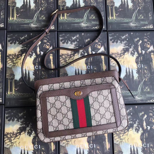 Gucci GG Supreme small shoulder bag 523354 brown