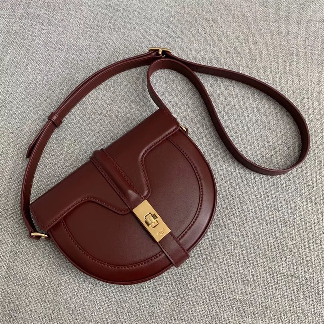 CELINE SMALL BESACE 16 BAG IN SATINATED CALFSKIN CROSS BODY 188013 BURGUNDY